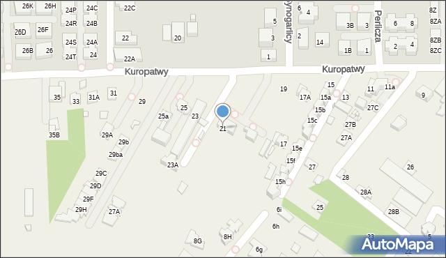 Mysiadło, Kuropatwy, 21, mapa Mysiadło