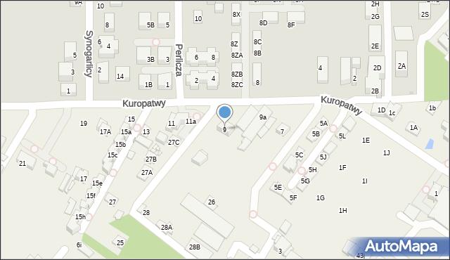 Mysiadło, Kuropatwy, 9, mapa Mysiadło