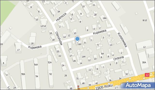 Radom, Kujawska, 11A, mapa Radomia