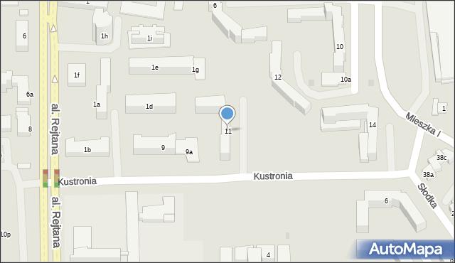 Rzeszów, Kustronia Józefa, gen., 11, mapa Rzeszów