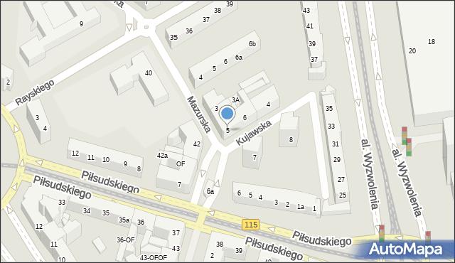 Szczecin, Kujawska, 5, mapa Szczecina