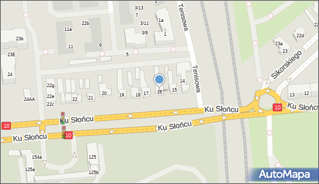 Szczecin, Ku Słońcu, 16, mapa Szczecina
