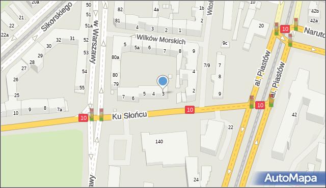 Szczecin, Ku Słońcu, 3, mapa Szczecina