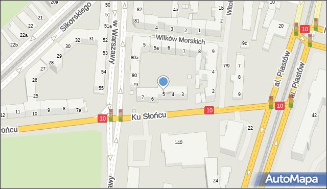 Szczecin, Ku Słońcu, 5, mapa Szczecina