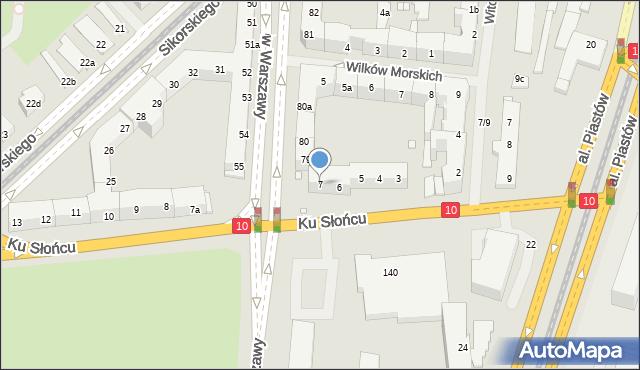 Szczecin, Ku Słońcu, 7, mapa Szczecina