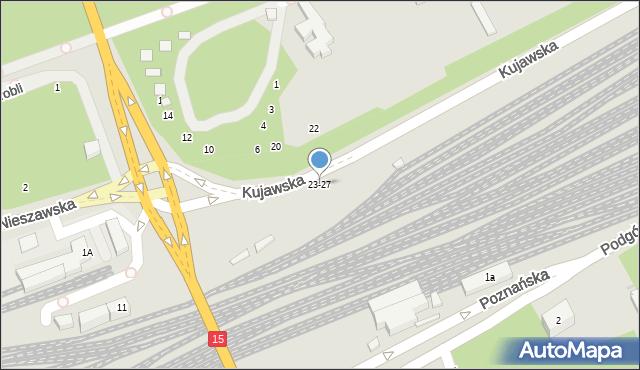 Toruń, Kujawska, 23-27, mapa Torunia