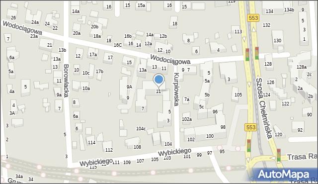 Toruń, Kurpiowska, 11, mapa Torunia