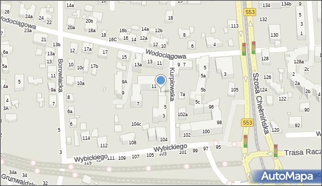 Toruń, Kurpiowska, 13, mapa Torunia