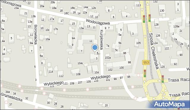 Toruń, Kurpiowska, 3-5, mapa Torunia