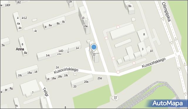 Toruń, Kusocińskiego Janusza, 12, mapa Torunia