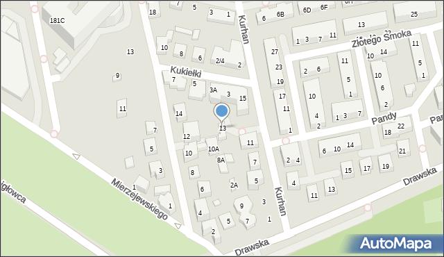 Warszawa, Kurhan, 13, mapa Warszawy