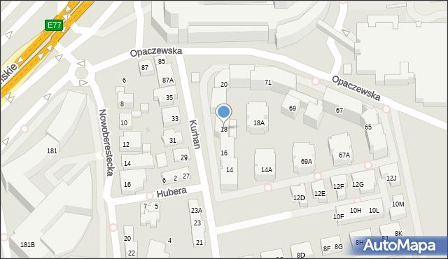 Warszawa, Kurhan, 18, mapa Warszawy