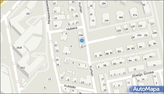 Warszawa, Kurhan, 21, mapa Warszawy