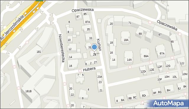 Warszawa, Kurhan, 29, mapa Warszawy