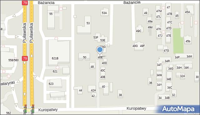 Warszawa, Kuropatwy, 40E, mapa Warszawy