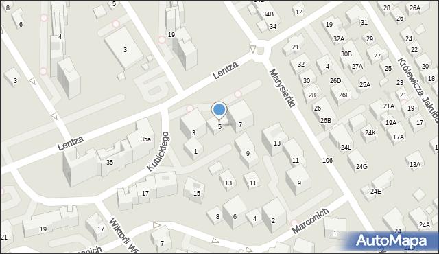 Warszawa, Kubickiego Jakuba, 5, mapa Warszawy