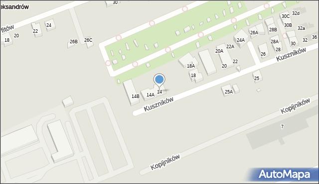 Warszawa, Kuszników, 14, mapa Warszawy