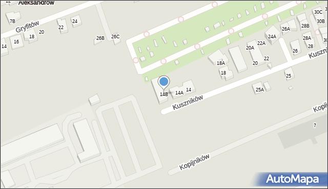 Warszawa, Kuszników, 14B, mapa Warszawy
