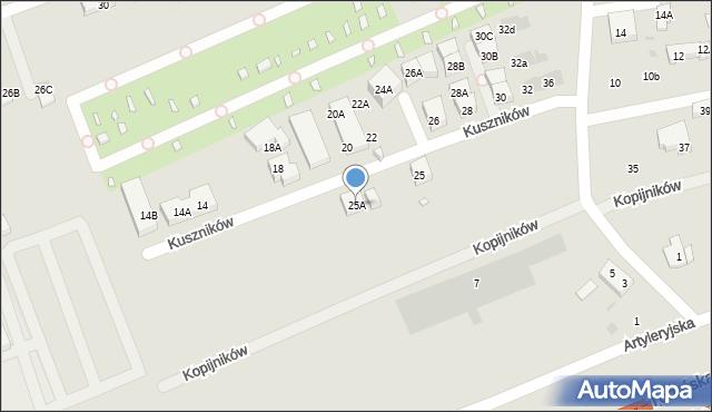 Warszawa, Kuszników, 25A, mapa Warszawy