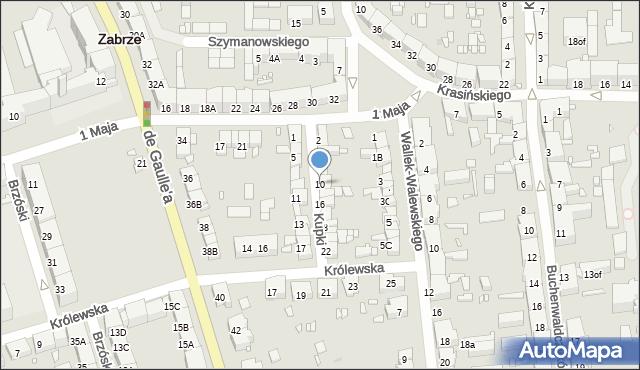 Zabrze, Kupki Zygfryda, 10, mapa Zabrza