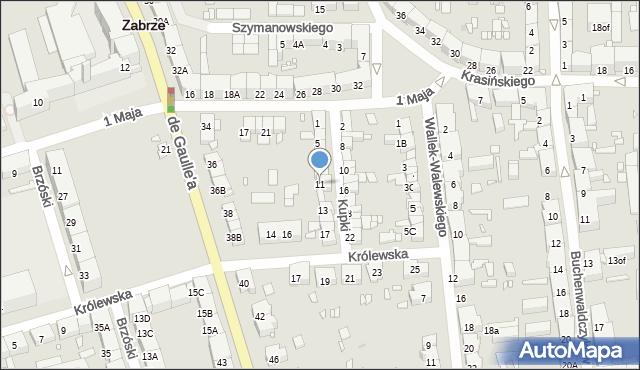 Zabrze, Kupki Zygfryda, 11, mapa Zabrza