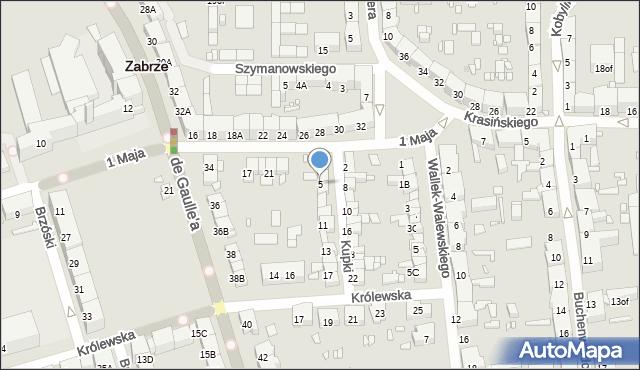 Zabrze, Kupki Zygfryda, 5, mapa Zabrza