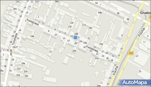 Grudziądz, Kwiatowa, 16, mapa Grudziądza
