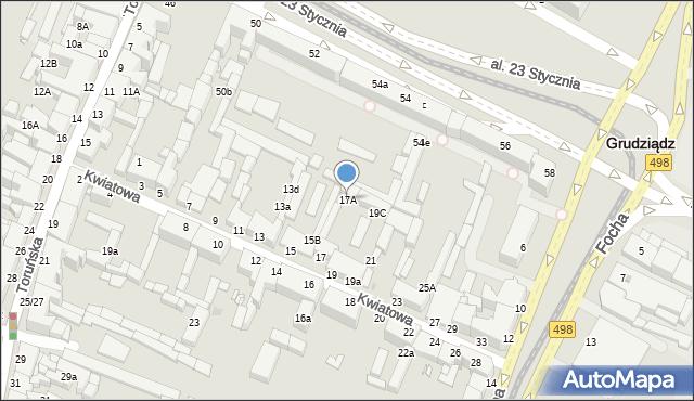 Grudziądz, Kwiatowa, 17A, mapa Grudziądza