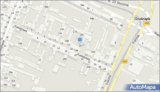 Grudziądz, Kwiatowa, 21, mapa Grudziądza