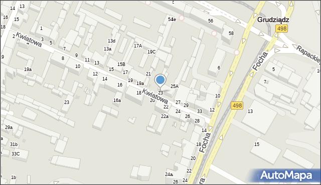 Grudziądz, Kwiatowa, 23, mapa Grudziądza