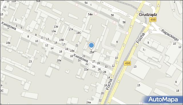 Grudziądz, Kwiatowa, 25A, mapa Grudziądza