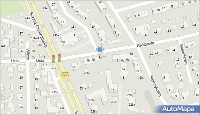 Toruń, Kwiatowa, 4g, mapa Torunia