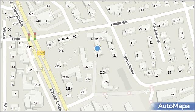 Toruń, Kwiatowa, 8, mapa Torunia