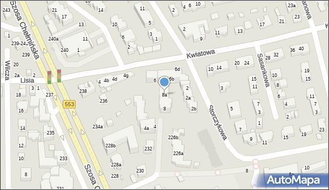 Toruń, Kwiatowa, 8a, mapa Torunia