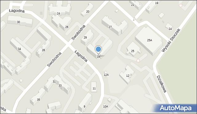 Białystok, Łagodna, 14, mapa Białegostoku