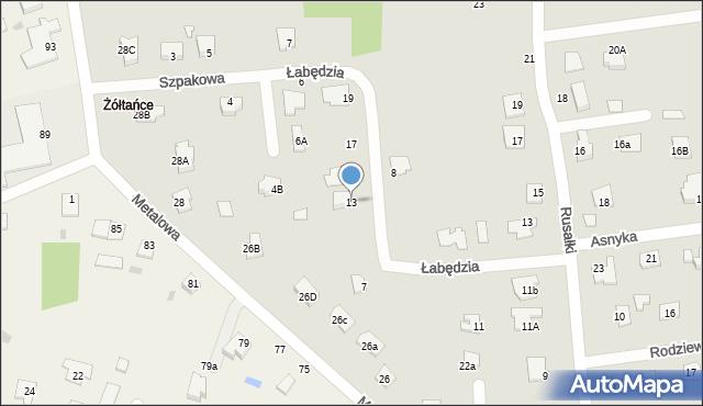 Chełm, Łabędzia, 13, mapa Chełma