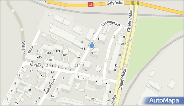 Grudziądz, Laskowicka, 5, mapa Grudziądza