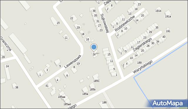 Grudziądz, Lawendowa, 14, mapa Grudziądza