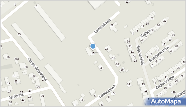 Grudziądz, Lawendowa, 15, mapa Grudziądza