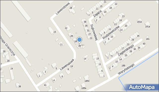 Grudziądz, Lawendowa, 16, mapa Grudziądza