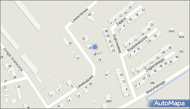 Grudziądz, Lawendowa, 18, mapa Grudziądza