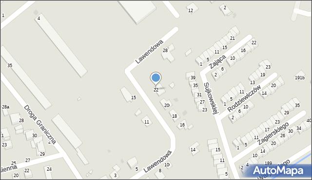 Grudziądz, Lawendowa, 22, mapa Grudziądza