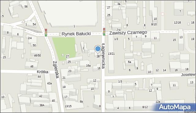 Łódź, Łagiewnicka, 18, mapa Łodzi
