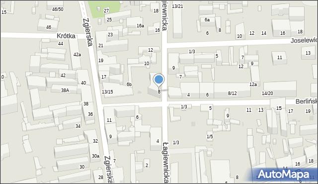 Łódź, Łagiewnicka, 8, mapa Łodzi