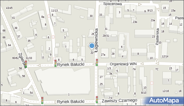 Łódź, Łagiewnicka, 22, mapa Łodzi