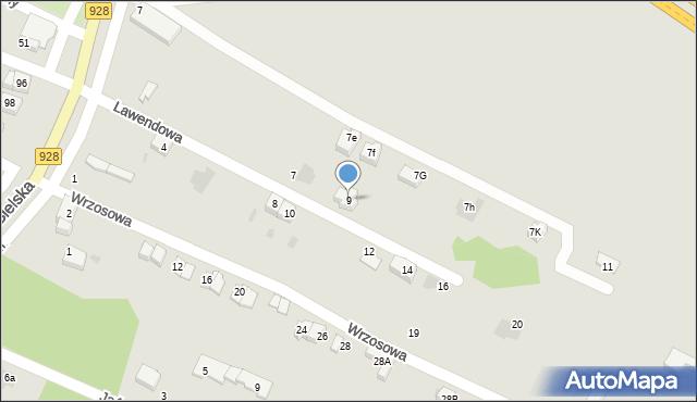 Mikołów, Lawendowa, 9, mapa Mikołów