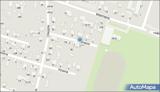 Radom, Łamana, 1, mapa Radomia