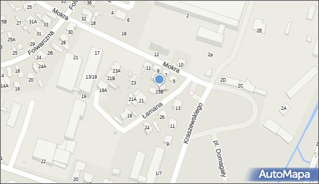 Radom, Łamana, 23B, mapa Radomia