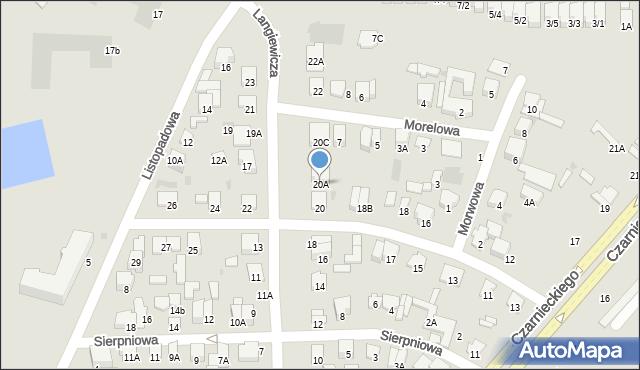Radom, Langiewicza Mariana, gen., 20A, mapa Radomia