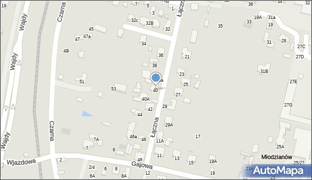 Radom, Łączna, 40, mapa Radomia